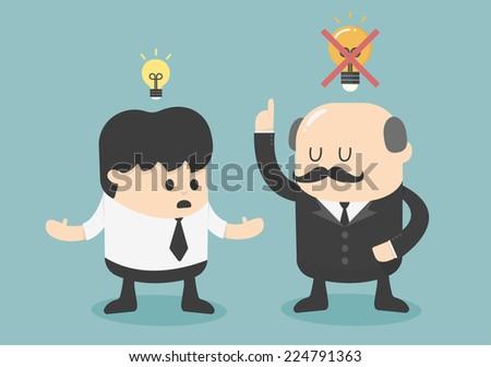Boss dislike the ideas - stock vector