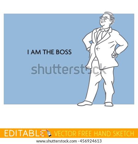Boss. Fat man. Editable vector icon in linear style. - stock vector