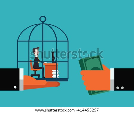 Boss sells his employee in a cage.  Work under pressure, stressing situations, subordination, overwork and power abuse vector concept illustration - stock vector