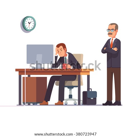 Boss watching over shoulder of a sleeping at work employee. Tired business man. Flat style modern vector illustration. - stock vector