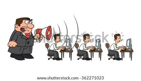 Boss yelling at workers - stock vector