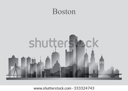 Boston city skyline silhouette in grayscale, vector illustration - stock vector
