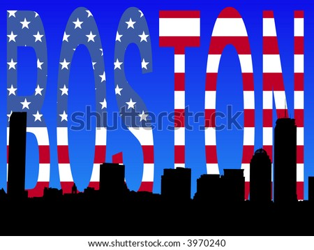 Boston skyline against American flag text illustration - stock vector