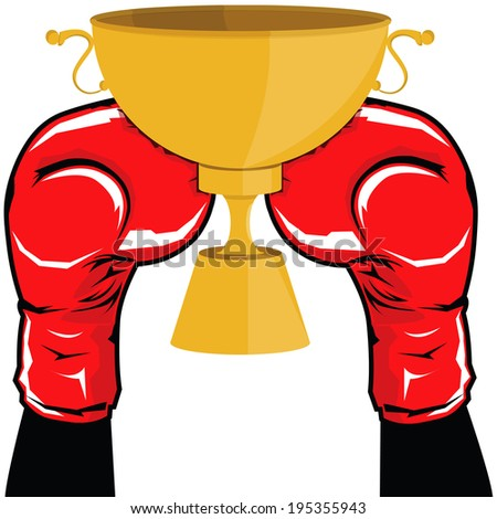 Both left and right of black silhouette boxer hand with red boxing glove raise up the golden winner trophy on the white background - stock vector