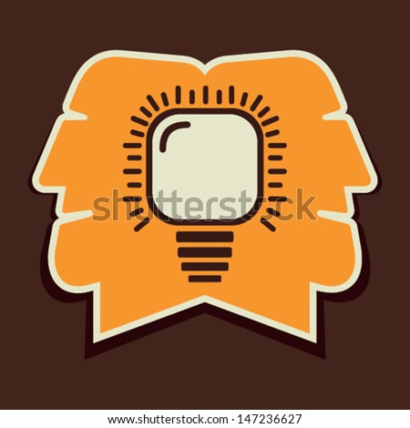 both men think same idea in mind stock vector - stock vector