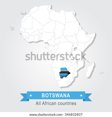 Botswana. All the countries of Africa. Flag version. - stock vector