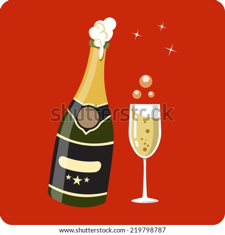 Bottle and Glass of Champagne  - stock vector