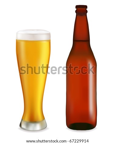 Bottle and glass with beer on white background. Vector illustration. - stock vector