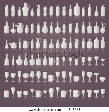 Bottle and Glass with Reflection - stock vector