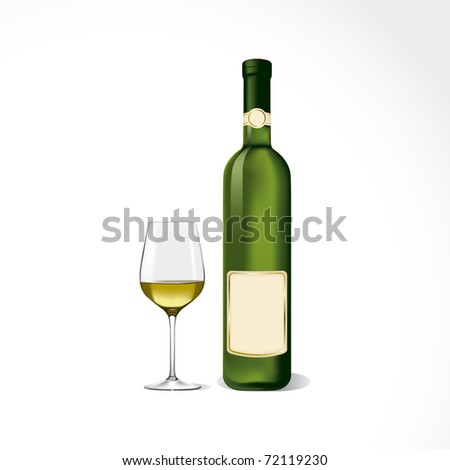 Bottle and glass with white wine. - stock vector
