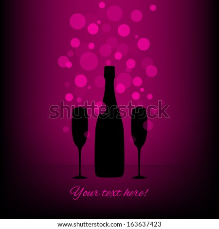 Bottle and two glasses of champagne with transparent bubbles on black and pink background. Vector version. - stock vector