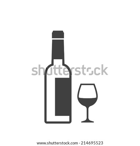 bottle and wine glass icon - stock vector
