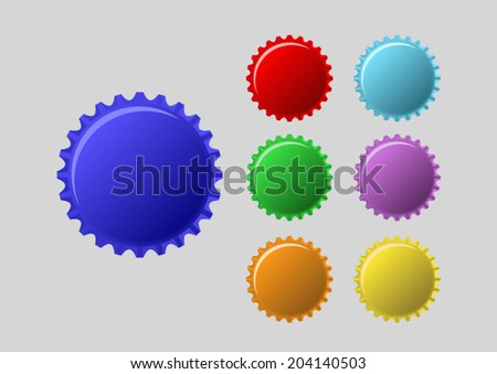 bottle caps in colors isolated on white background - stock vector