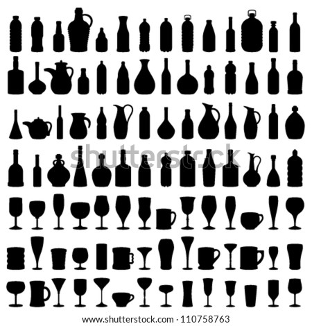 Bottle, Glass and Jug Silhouettes, Vector - stock vector