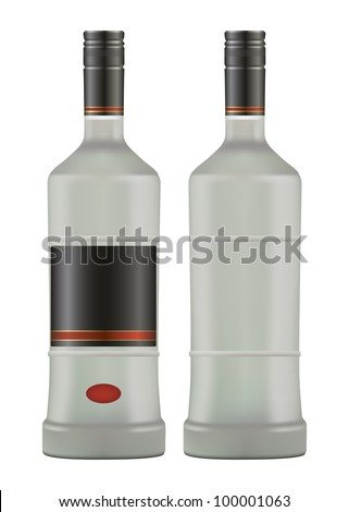 bottle iced of vodka isolated on white background vector - stock vector