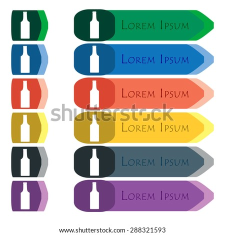 bottle icon sign. Set of colorful, bright long buttons with additional small modules. Flat design. Vector - stock vector