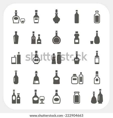 Bottle icons set - stock vector