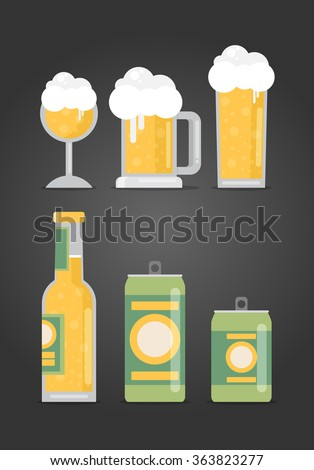 Bottle of beer with glass, flat design modern vector illustration. - stock vector