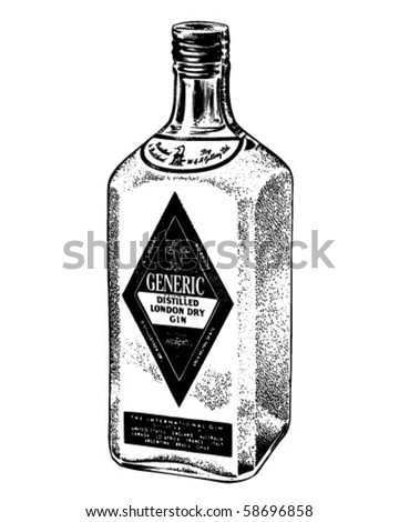 Bottle Of Distilled Gin - Retro Clip Art - stock vector