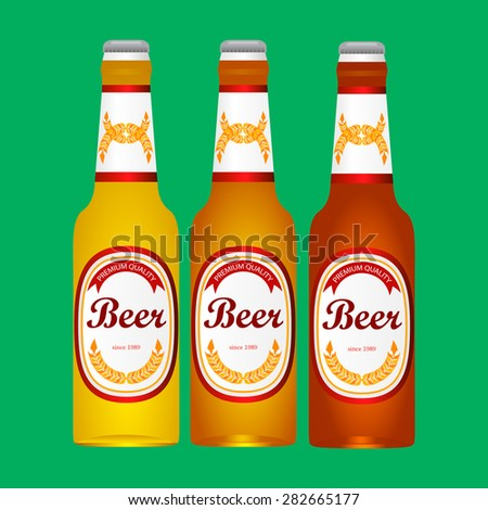 bottle of light beer on a green background - stock vector