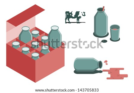 Bottle of milk vector image set - stock vector