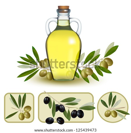 Bottle of oil with green olives and olive oil labels. Vector illustration. - stock vector