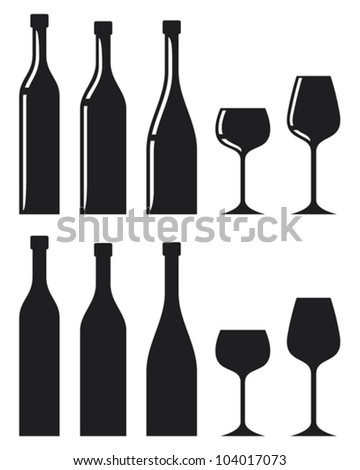 bottle of wine and glass (wine glass and bottle) - stock vector