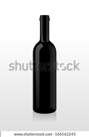 Bottle of wine, blank harvesting, without stickers. Vector. - stock vector