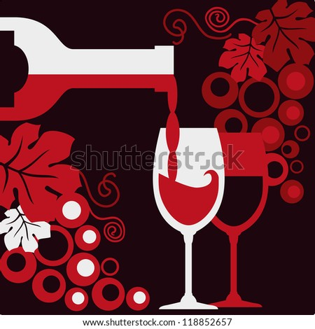 Bottle of wine, two wineglasses and grapes. - stock vector