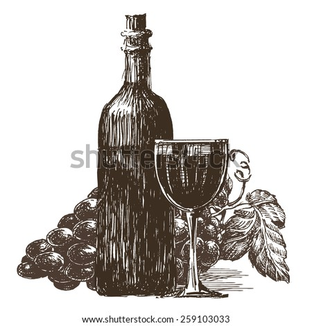 bottle of wine vector logo design template. alcohol drink or winery icon. - stock vector