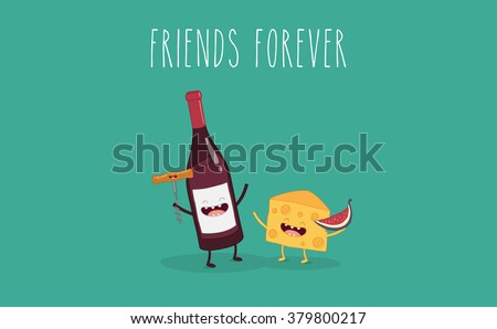Bottle of wine with a corkscrew, cheese with figs friend forever. Vector illustration. Funny food. - stock vector