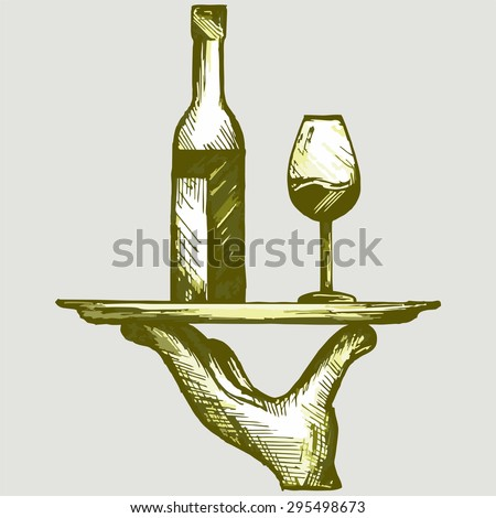 Bottle of wine with a glass on a tray. Vector Image - stock vector