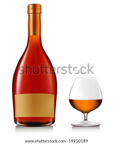 Bottle with brandy and glass with ice isolated on white. Vector. - stock vector