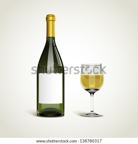 Bottle with white wine and glass, eps10 vector - stock vector