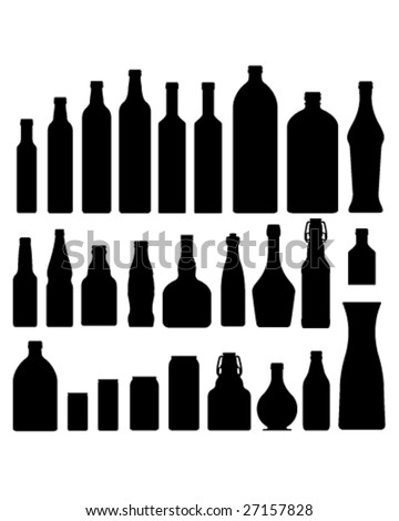Bottles and jars set in vector silhouette - stock vector