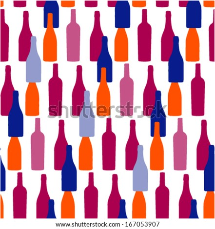 Bottles in the seamless pattern - stock vector