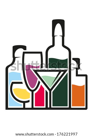 Bottles of alcohol with colourful tropical cocktails in elegant glasses logo, cartoon illustration - stock vector