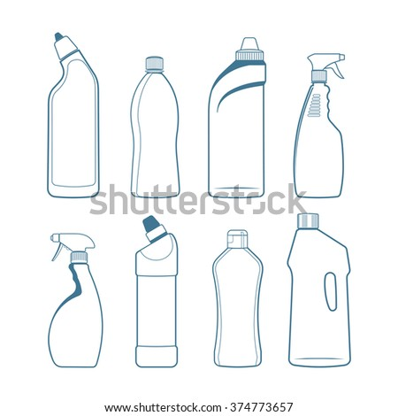 Bottles of cleaning products - stock vector