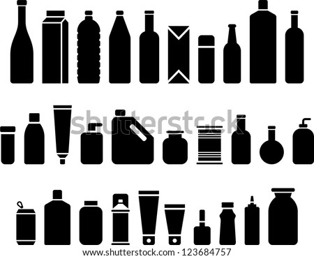 Bottles & Packaging icons - stock vector