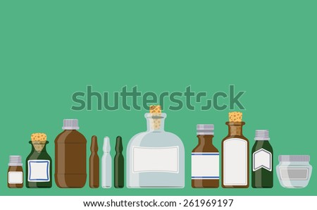 Bottles set: medicine containers in a row as if standing on a shelf.  - stock vector