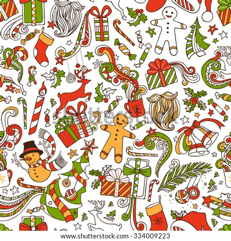Boundless Funny Christmas Wallpaper. Seamless hand-drawn pattern. Christmas tree and baubles, Santa sock, hat, beard, gifts, candy canes, snowman, swirls, gingerbread man, deer, bells and ribbons. - stock vector