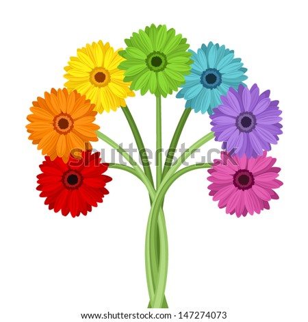 Bouquet of colorful gerbera flowers. Vector illustration. - stock vector