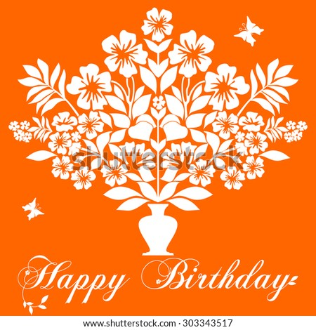 Bouquet of Flowers in a Vase. Happy Birthday card. Vector illustration - stock vector