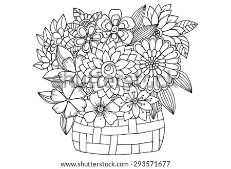 Bouquet of flowers in a wood basket. Vector doodle floral image - stock vector
