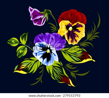 Bouquet of magnificent, bright spring colors - stock vector