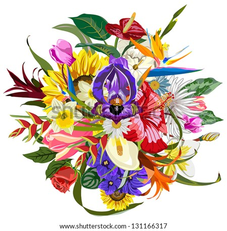Bouquet of many beautiful and colorful flowers - stock vector