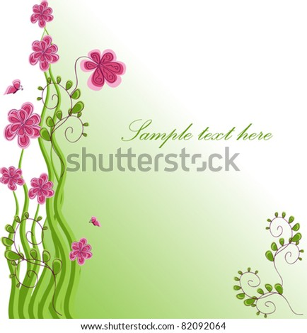 Bouquet of pink chamomiles vector illustration with a letter of congratulations - stock vector