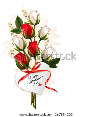 Bouquet of red and white roses. Valentine's background. - stock vector