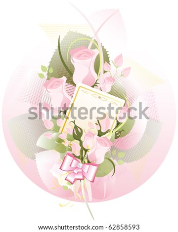 bouquet of roses  with a card - stock vector