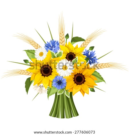 Bouquet of sunflowers, daisies, cornflowers, ears of wheat and leaves isolated on a white background. Vector illustration. - stock vector